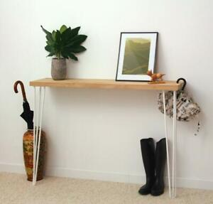 Solid Oak Console Table with Hairpin Legs Hallway Table