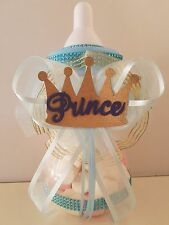 "Baby Shower Prince Centerpiece Bottle Large 12"" Piggy Bank Boy Table Decorations"