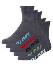 New Globe Men's Stealth Crew 5 Pack Of Socks Cotton Polyester Grey