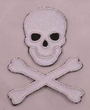 Embroidered White Glitter Skull Crossbones Pirate Applique Jacket Patch Iron On