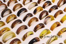wholesale lots 30pcs glazed natural colourful agate gemstone rings Jewelry FREE