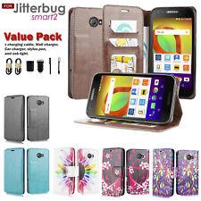 Value Pack + For Fierce XL 2/ Jitterbug Smart2 Wallet PU Leather Flip Card Case