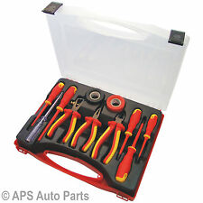 11pc Electricians Tool Kit VDE Insulated Pliers Wire Stripper Main Tester 250v