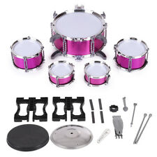 Children Kids Drum Set Toy 5 Drums with Small Cymbal Stool Pink O9R0