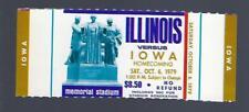 1979 NCAA IOWA HAWKEYES @ ILLINOIS ILLINI FULL UNUSED FOOTBALL TICKET