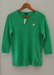 Talbots womens petite small Lemon sweater 3/4 Sleeve Kelly green linen cotton