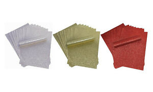 Pack of 30 - RED GOLD SILVER Glitter Card A4 Sparkly Soft Touch Non Shed 250gsm