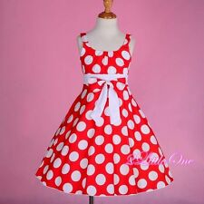 Polka Dot Cotton Girl Empire Waist Spring Summer Dress Red White Kid Size 5 #006