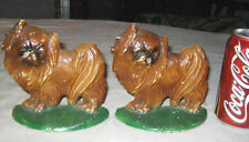 Antique Hubley #353 Pekingese Cast Iron China Toy Dog Art Statue Puppy Bookends