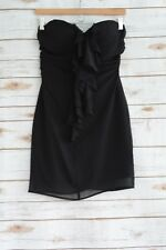 Guess - Black chiffon RUCHED strapless cocktail dress, size 5