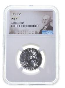 1961 PF67 Proof Washington Quarter NGC Graded - White Coin Spot Free PR *0938