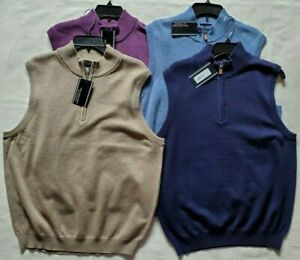 Roundtree & Yorke Mens 1/4 Zip Sweater Vest Size Medium Large M L NWT