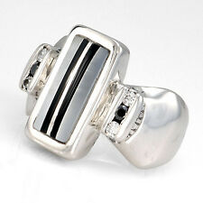 Handcrafted Sterling Silver Mother of Pearl Black Onyx Inlay Diamond Ring Size 7