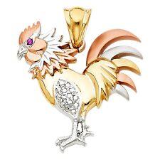 14K tricolor gold rooster pendant EJPT1536