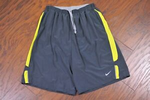 "Nike Dri-Fit 9"" Lined Running Shorts Gray Yellow Men's Medium M"