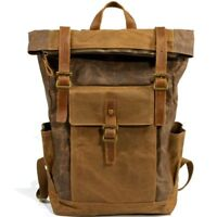 Retro Men Waterproof Oil Wax Canvas+Real Leather Backpack Sport Travel Bag Large
