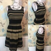 NEXT Size 10 Brown Black Button Detail Fit & Flare Striped Spring Dress Grunge