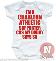 Naughtees Clothing I/'m A Charlton Athletic Supporter Soft Babygrow Baby Suit New