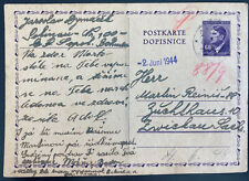 1944 Prague Germany Arbeitslager Slave Labor Prison postcard pS Cover to Zwickau