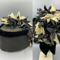Vintage Ladies Hat Actress Owned Armand Beverly Hills Black And White Flowers