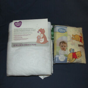 New Winnie the Pooh Crib Sheet Reversible Fitted Fleece Mattress Pad Lot Baby