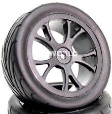 RC 1/10 Buggy Rims Tires Wheels STREET SEMI-SLICK STAGGER Racing Set 4 pcs BLACK