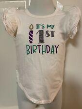 It's My First Birthday 1st One pc 12 mod glitter vinyl ruffled sleeves worn once