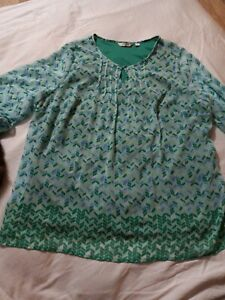 Liz Claiborne Women's Size XL Blouse Top 3/4 Sleeve Green Keyhole Neckline a9