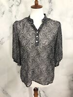 Tulle Anthropologie Medium Paisley Sheer Top Shirt Blouse Button Popover Womens