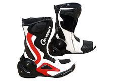 Stivali Moto Sport Racing Pista Strada Tecnico.Bianco Rosso BI ESSE TAGLIA 42