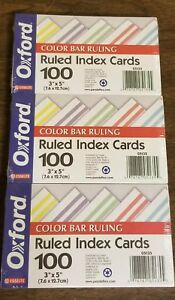 """Index Cards Color Bar 3"""" x 5"""" Oxford Lot of 3 Packs 100 Per Pack"""