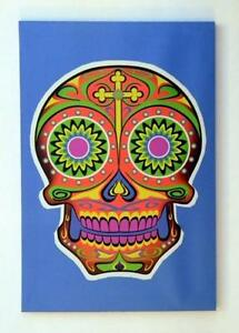 Blue Psychedelic Sugar Skull Day of the Dead Canvas Print!