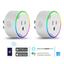 2x Wifi Smart Plug Outlet Power Socket Timer RGB Alexa Google Home App Remote
