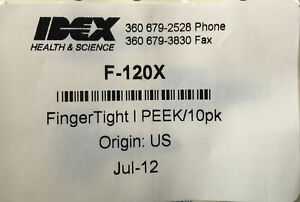 """Cole Parmer Idex F-120X Fingertight PEEK Fitting for HPLC OD 1/16"""" Pack of 10"""