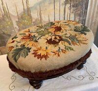 Vintage Floral Needlepoint Oval Wood Footstool Ottoman