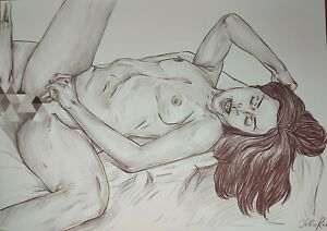 Original Art-Mode-Artwork Drawing Art female Nude 29.6x41.6 cm