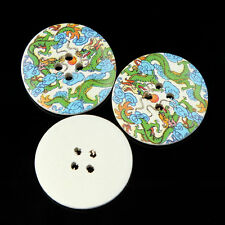 40X 40mm 4 Holes Wooden Buttons Round DIY Sewing Scrapbooking Craft Dragon New