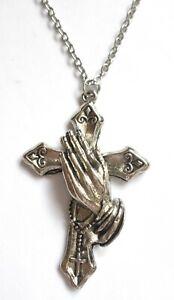 Metal Cross Pendant Necklace Crucifix Cross Jesus Christ Jewellery Praying Hands