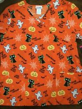 Scrubstar Halloween Creep It Real Women's Mock Wrap Scrub Top Size Large