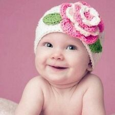 Baby Infant Toddler Girl Winter Warm Cute Flower Crochet Knit Hat Beanie Cap