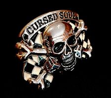 SKULL & DICE CURSED SOUL CHROME BELT BUCKLE GOTHIC BIKER ROCK FIT SNAP BELT