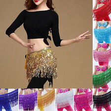 AU NEW Belly Dance Costume Sequins Tassel Fringe Hip Scarf Belt Waist Wrap Skirt