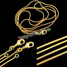16-30 inch Fashion 18K Gold Plated 1.2mm Snake Chain Necklace Jewelry Xmas Gift