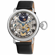 Men's Akribos XXIVAK451SS Moon phase Two Time Zone Mechanical Movement Watch