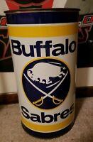 VINTAGE 1970's BUFFALO SABRES NHL HOCKEY METAL TRASH GARBAGE CAN