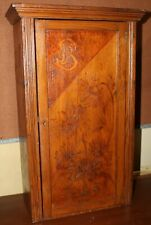 Folk Art Carved Wood Cabinet with Lock and Key - 1902
