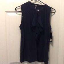 Jones New York 1426 Womens Navy Ruffled Sleeveless  Top Blouse SZ.M 39.50 Retail