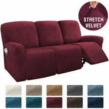 8PCS Recliner Sofa Covers Velvet Stretch Reclining Couch Covers for 3 Seater