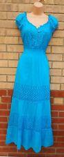 Roman Azul Turquesa Algodón Gitano Bordado Crochet Maxi vestido largo de 14