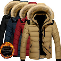 US Men Winter Thicken Fur Collar Hooded Fleece Lined Outerwear Jacket Coat Parka
